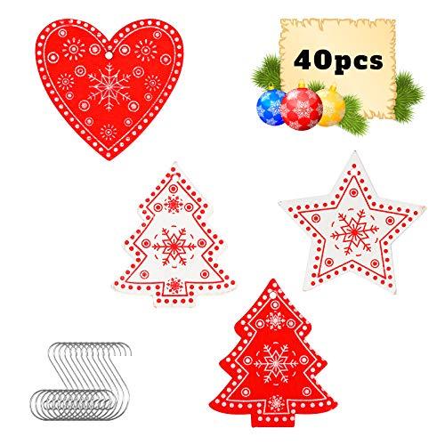 BELIOF 40 pcs Colgante Navideño de Madera para Decorar Árbol de Navidad Adornos Colgantes Navidad de Madera para Colgar en la Ventana de Forma de Estrella Árbol Navideño Corazón