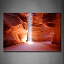 A Beam of Light Falling Down in Antelope Canyon Wall Art Painting Pictures Print On Canvas Landscape The Picture for Home Modern Decoration 12x18inch