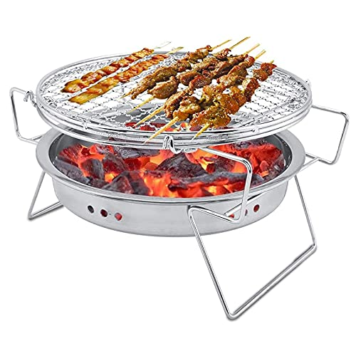RJMOLU Parrilla de Barbacoa de carbón portátil, Estufa de Barbacoa Redonda portátil Plegable, Grill BBQ de Acero Inoxidable para Camping al Aire Libre picnics