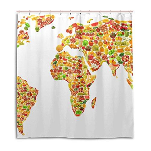 jstel Decor Duschvorhang Weltkarte Obst & Gemüse Muster Print 100prozent Polyester Stoff 167,6x 182,9cm für Home Badezimmer Deko Dusche Bad Gardinen mit Kunststoff Haken