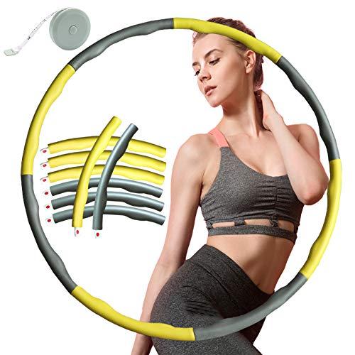 ZOORE Einstellbar Hula Hoop, Fitness Reifen Abschnitten Sport Hoola Hoops Reifen Gymnastikreifen für Fitness und Abnehmen (4 Gelb + Grau)