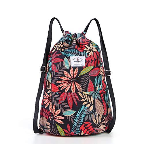 Drawstring Backpack Waterproof Gym Tote String Bag Lightweight Sackpack Cinch Sack for Women Girls