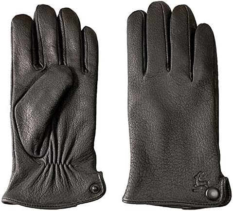 XIAOQIU Gloves Deerskin Gloves Men's Leather Fashion Wool Lining Winter Warmth Thick Fake Rabbit Fur Lining Outdoor Driving Mittens (Color : Wool Lining, Gloves Size : 10.5)