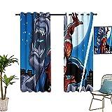 Cortinas de dormitorio de estilo sencillo The Avengers, Spider_man Comics Art Dormitorio con cortinas opacas de 157,5 x 183 cm