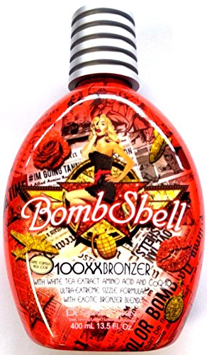 Bombshell Tanning Bed Lotion 100xx Hot Tingle w/ Bronzer By Designer Skin 13.5 Oz/400ml