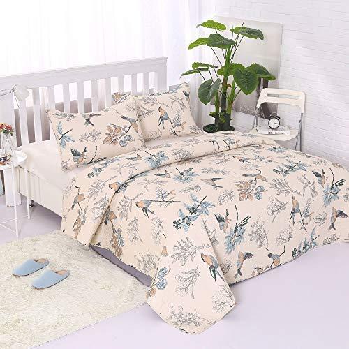 Alicemall Bettwäsche 3 Teilig Baumwolle Tagesdecke Quilt 230 x 250 cm mit Kissenbezüge Angenehm Atmungsaktive Patchwork (Vögel & Blumen)