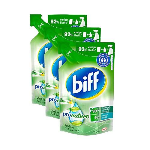 Biff Pro Nature Badreiniger, Nachfüllpack, 3 x 250 ml, mit 99,9 Prozent naturbasierten Inhaltsstoffen und nachwachsenden Rohstoffen aus nachhaltigem Anbau