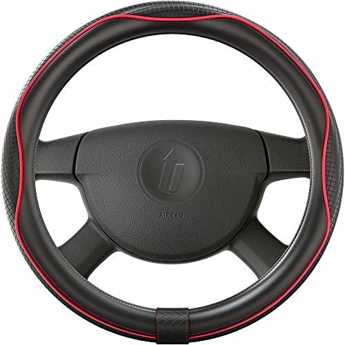 Upgrade4cars Lenkradbezug Rot Schwarz Leder Optik | Lenkradschutz in Universal Größe 37-39 cm | Lenkradhülle für Sommer & Winter | Autozubehör Innenraum