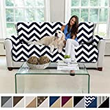MIGHTY MONKEY Premium Reversible Large Sofa Protector for Seat Width up to 70 Inch, Furniture Slipcover, 2 Inch Strap, Couch Slip Cover Throw for Pets, Dogs, Kids, Cats, Sofa, Chevron Navy White