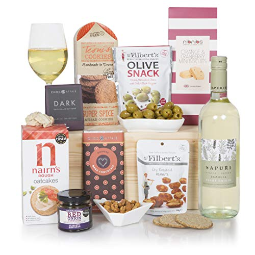 The Vegan Treats and Wine Hamper - Vegan and Wine Hampers - Wine Hampers and Gift Baskets for Vegans - Birthday or Thank You Hamper