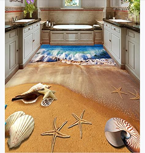 Pegado a las baldosas de la cocina Vinylsales Beach Seashell Baño Inodoro Dormitorio 3D Floor-430 * 300Cm3D Wallpaper 154D Effect Living Room