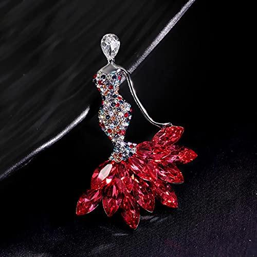 hcma Señoras de Lujo Rojo Azul Cristal Elegante Moda Personalizada Mujeres aleación de Cobre joyería broches de Metal circón Broche al por Mayor para Mujeres