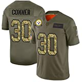 Steelers # 30 James Conner Rugby Jerseys, Maillot de Football Adulte Unisexe Activités Quotidiennes T-Shirt de Sport à Manches Courtes à séchage Rapide-ArmyGreen-M