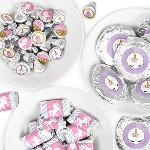 Rainbow Unicorn - Mini Candy Bar Wrappers, Round Candy Stickers and Circle Stickers - Magical Unicorn Baby Shower or Birthday Party Candy Favor Sticker Kit - 304 Pieces