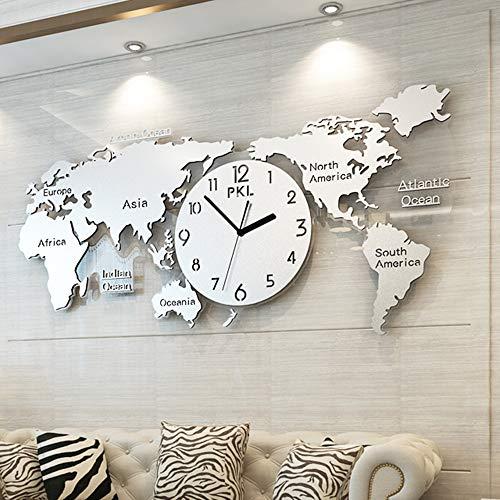 Dekoration Wanduhr, Startseite - Weltkarte Modellierung Uhren, Wohnzimmer Schlafzimmer Hintergrund Wand Metall Zifferblatt Silent Kehr Bewegung, Kreative Atmosphärischen Wanduhr (115 x 55cm) ,Silver