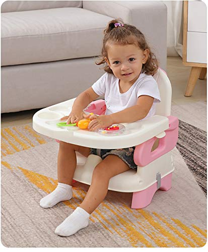 GOCART WITH G LOGO Baby Booster Feeding Chair -Easy Travel Chair - with Safety Belt and Removable Dining Tray for Infants and Toddlers (Pink)