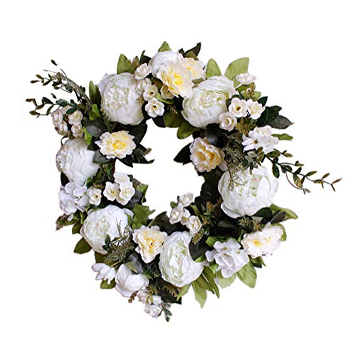 TianBao Door Wreath Brightens Front Door Decor for Wedding/Birthday/Living room Decoration 1 Pcs (40cm, White peony)