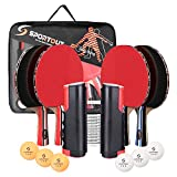 Sportout 4 Player Ping Pong Paddle Set, Table Tennis Paddle Set with Retractable Net, Balls and...
