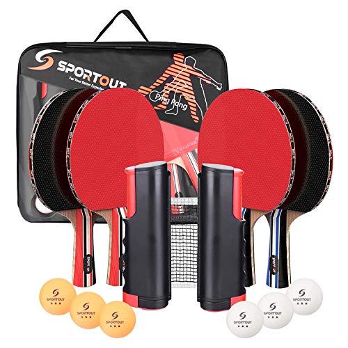 Easyroom 4 Spieler-Tischtennis-Set, Tischtennisschläger Set mit ausziehbarem Netz, Bälle und tragbare Aufbewahrungstasche, perfekt für Spiele im Innen- und Außenbereich