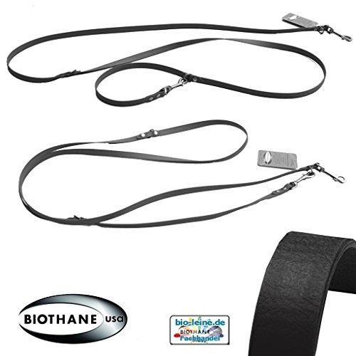 bio-leine Verstellbare robuste Hundeleine aus BioThane I Leine Doppelleine für sehr kleine Hunde - 2,5 m lang | Schwarz | 9 mm breit