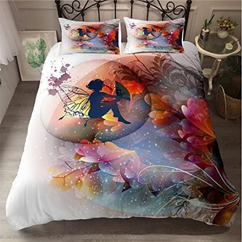 ysldtty Juego De Ropa De Cama De Mariposa De Hadas, Funda Nórdica De Mujer Hermosa, Colcha De Lujo De Moda B-0450E 135CM x 200CM with 2 Pice Pillowcase 50CM x 75CM