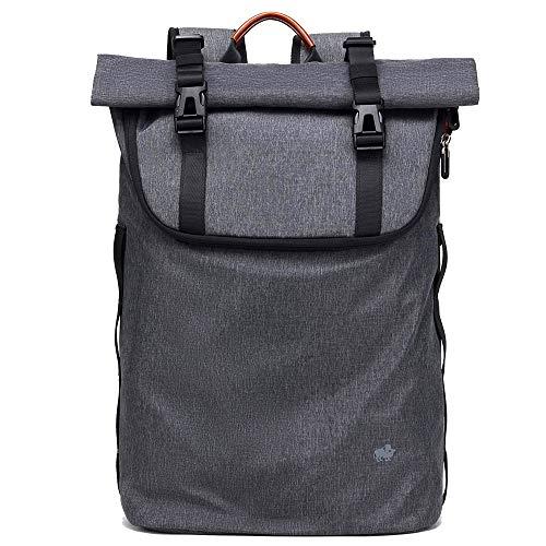 BISON SPIRIT Wasserdichter Laptop Rucksack Uni Casual Schulrucksack Business Daypack Reiserucksack für Damen und Herren (Grau-N2920)