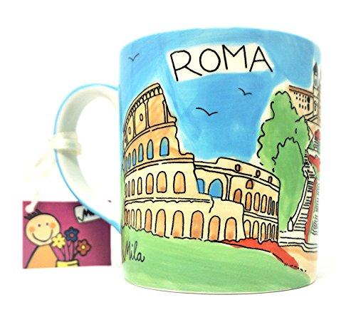 Mila Taza pintada a mano de cerámica Roma/Roma, 9 cm x 7,5 cm de diámetro.
