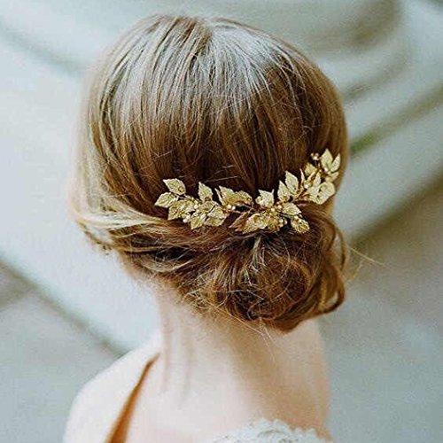 aukmla Haarschmuck Weinblätter-Design mit Strass, Gold, Haarschmuck in Vintage-Optik für Hochzeit, Haar-Accessoire für die Braut und Brautjungfer