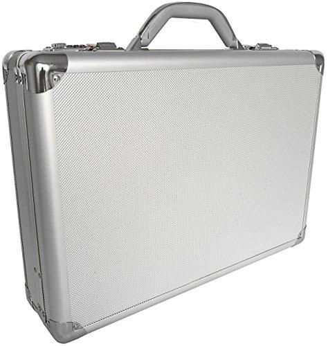 Pro Aluminium Große Tiefe Executive Laptop-Aktentasche Aktenkoffer Silber