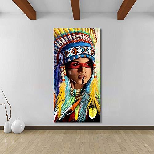 Mur Art Toile Peinture Peintures D'animaux Image Affiches Prints Indien Amérindien Femme Décor À La Maison 50x70cm