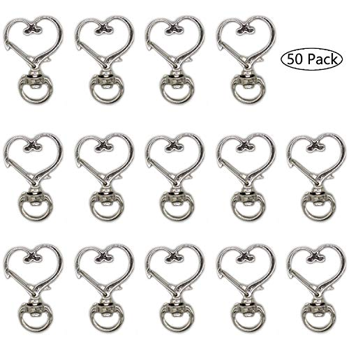 50 Pcs Metal Heart Design Spring Snap Keychain Clip Creative Hanging Buckle Key Ring DIY Key Chains Accessories (Silver)