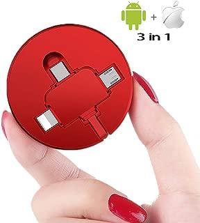 Colourfulstar 3in1充電ケーブル 急速充電 高速データ 高速転送 対応 巻き取りケーブル 巻き取り式 充電ケーブル iOS/Android Type-C/Micro/iPhone/iPad 適用 (3in1 Lightning+Micro+Type-c)