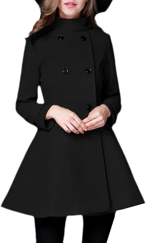 Abetteric Women DoubleBreasted Midi Premium Overcoat Outerwear Fit Pea Coats