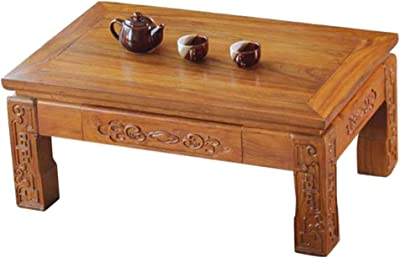 Table Bay Window Coffee Table Old Elm Tea Table Chinese Simple Tatami Balcony Table Low Table Tables (Color : Brown, Size : 50 * 40 * 30cm)
