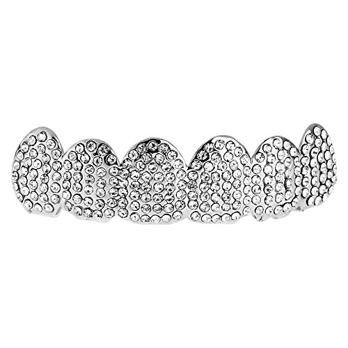 .iced-out. One Size Fits All Bling Grillz TOP - Silber