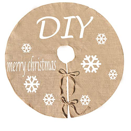 Awtlife 48 inch Burlap Xmas Tree Skirt for DIY Christmas Under The Tree