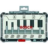 Bosch Professional 2607017465 Juego de 6 fresas (para madera, para fresadoras con vástago de 6 mm), Color