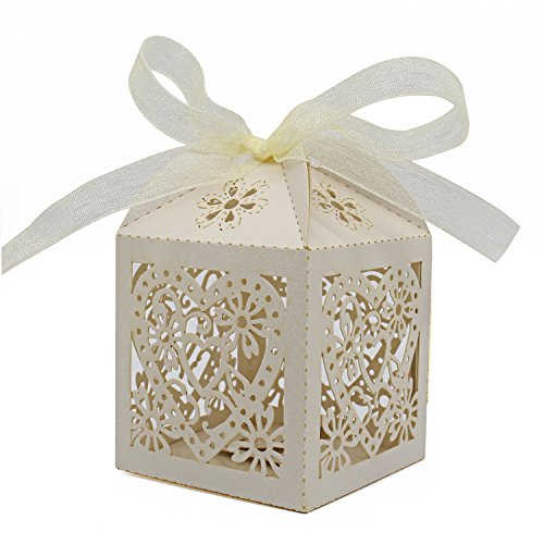 KPOSIYA 100 Pack Love Heart Laser Cut Wedding Party Favor Box Candy Bag Chocolate Gift Boxes Bridal Birthday Shower Bomboniere with Ribbon (Beige, 100)