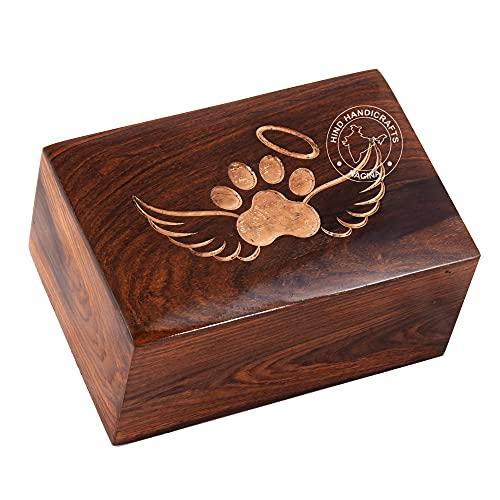 Hind Handicrafts Urna grabada de palisandro para mascotas para perros, gatos, urnas conmemorativas para cenizas, caja de fotos urna de cremación (100 pulgadas cúbicas, ala de ángel)