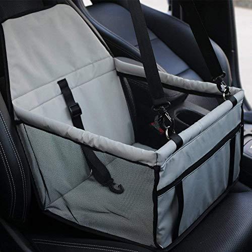 YAOJU Hunde Autositz für Hunde, Hundebox Auto Sitzerhöhung für Hunde,Wasserdicht Faltbar Atmungsaktiv Haustier Sicherheit für Reise,Kleine Hunde oder Katzen (Hellgrau)