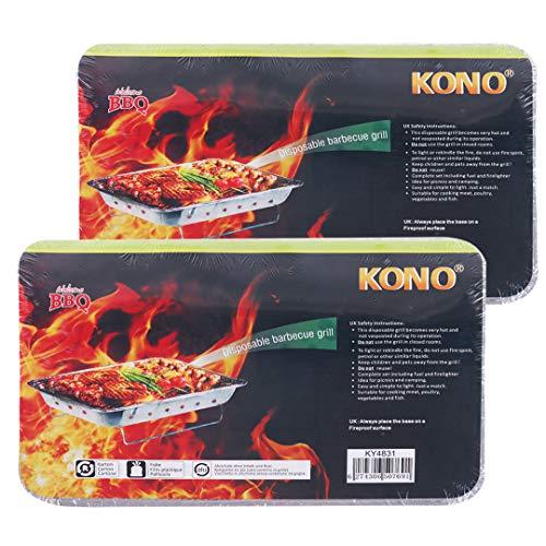Kono - Lot de 2 barbecue jetables et pliables, taille L