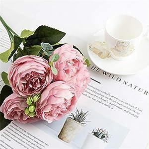 Silk Flower Arrangements Fake Plants Artificial Peony Tea Rose Flowers, Camellia Silk Fake Flower for DIY Home Garden Wedding Decoration Fake Flower (Color : Pink)