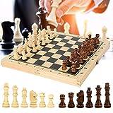 HJUIK Juego de ajedrez de madera maciza, juego de tablero plegable, juego de ajedrez 3 en 1, juego de ajedrez internacional (color: 29 x 29 x 2,5 cm)