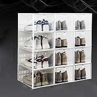 積み重ね可能な靴の収納ボックス,省スペース 折りたたみ式クリアプラスチック靴オーガナイザー,ポータブル ふた付き靴ラックキャビネット リビングルーム用(12パック)-D 33.7x23.3x15.3cm