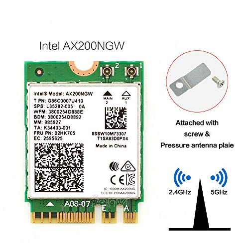 OSGEAR-NEU Intel Dual Band Wireless-AX200NGW Intel WLAN/Wi-Fi 6 AX200 2230 2x2 AX+ Bluetooth 5.0,M.2/A-E-Key (AX200.NGWG.NV) Wi-Fi 6 AX200,2.4GHz/5GHz WLAN, Bluetooth 5.0, M.2/A-E-Key 802.11ax