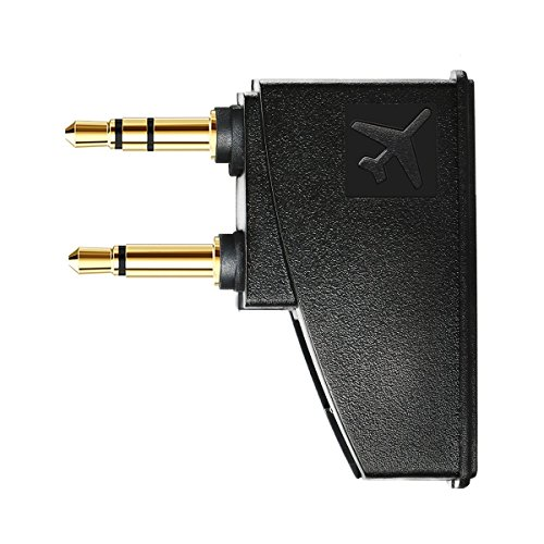 Tranesca Replacement Airplane Headphone Adapter for Bose Quiet Comfort QC15 QC25 QC35 and More Headphones, Golden Plated 3.5mm Jack
