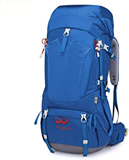 Outdoor Mountaineering Bag Bicycle Backpack Hiking Camping Backpack Multi-Function Travel Backpack 55L Annacboy (Color : Blue)