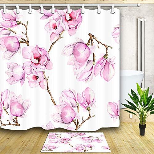 Aliyz Wunderschöner Pinker Duschvorhang mit Kirschblütenmuster und wasserdichter Badematte aus Stoff mit Flanell-Badematte, einschließlich 12 Kunststoffhaken für die Badezimmerdusche