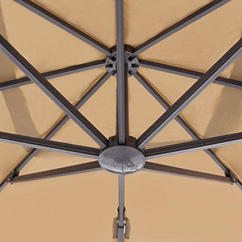 Sekey® Sonnenschirm 300 x 300 cm Aluminium-Sonnenschirm Marktschirm Gartenschirm Terrassenschirm Ampelschirm Kurbelschirm Beige/Taupe Quadratisch S...