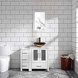 Homecart 36' White Bathroom Vanity Cabinet w/Marble Pattern Top Vessel Sink Mirror Faucet and Drain (Glass Sink 3)